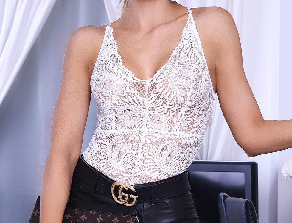 Taylor White Lace Plunge Bodysuit