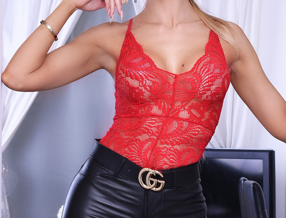 Taylor Red Lace Plunge Bodysuit