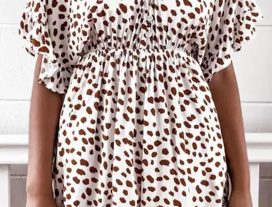 Nadine Leopard Print Bell Sleeve Playsuit