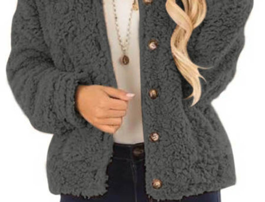 Coleen Grey Gold Button Up Teddy Bear Jacket