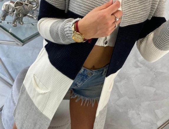 Corie Knitted Striped Trench Cardigan