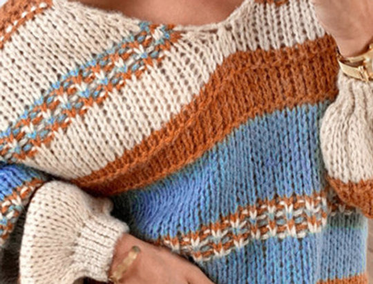 Terri-Ann Bombfire Striped Off The Shoulder Knitted Sweater