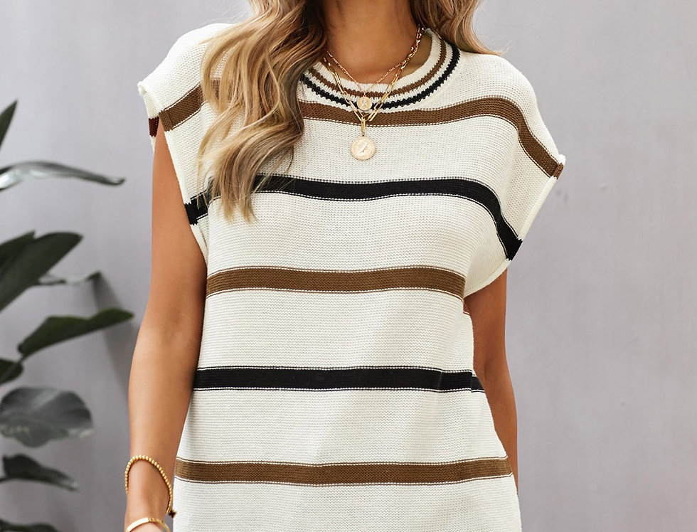 Coco Striped Oversized  Knitted Tank Top