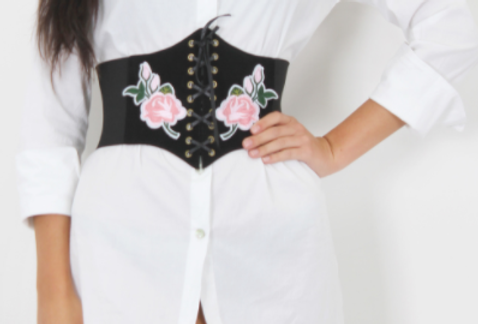 Rose Embroidered Corset Belt