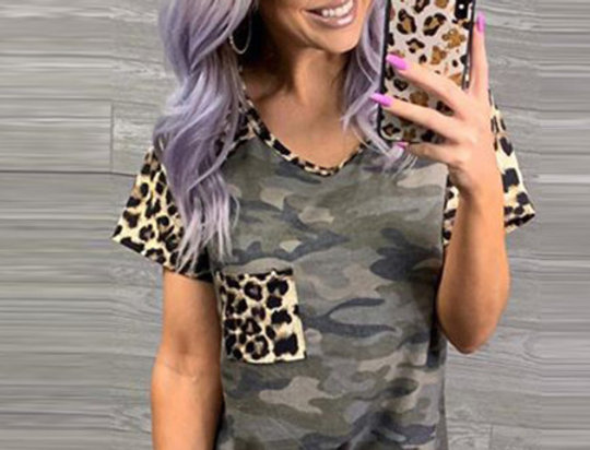 Bonnie Army Camo Leopard Print Casual T-shirt