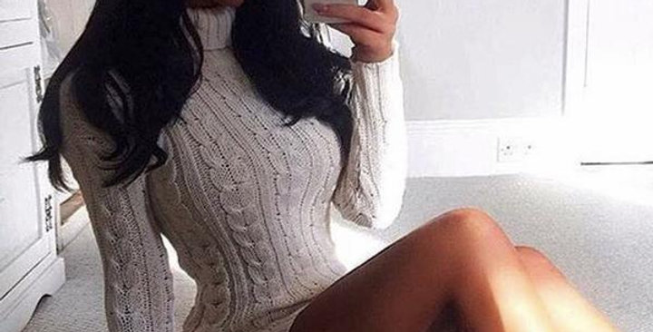 Stone Knitted Jumper Dress