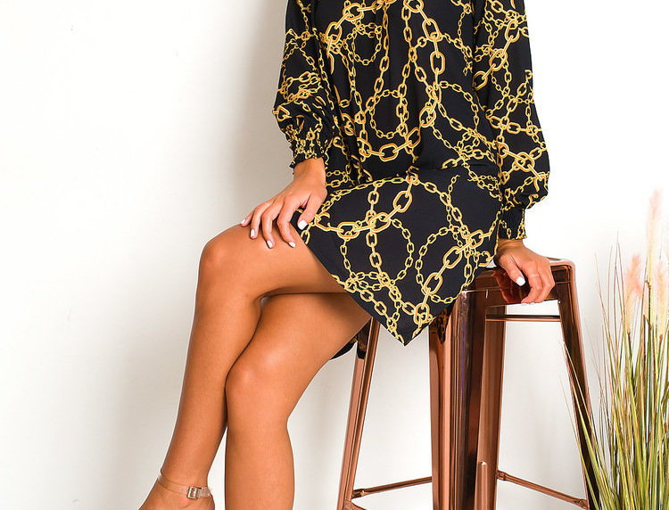 Molly High Neck Chain Print Swing Dress