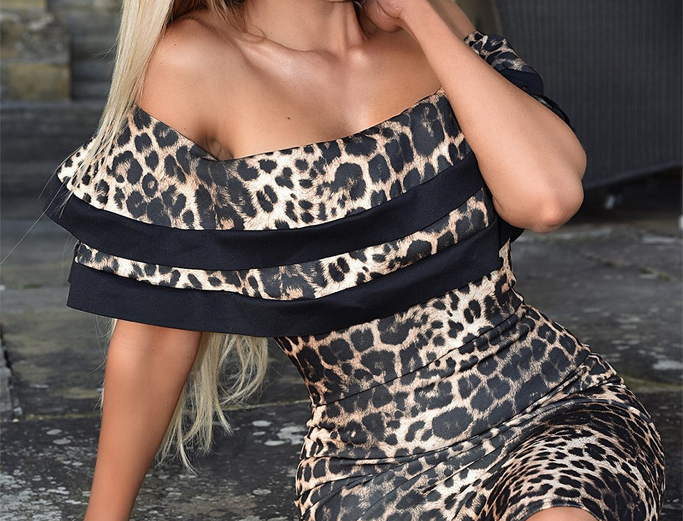 Zoe Leopard Print Bardot Bodycon Dress