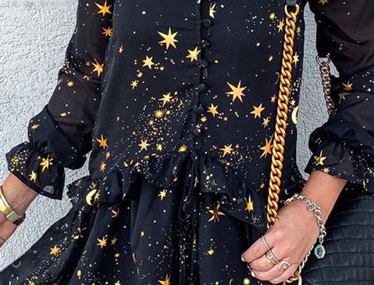 Twinkle V Neck Star Embellished Ruffle Dress