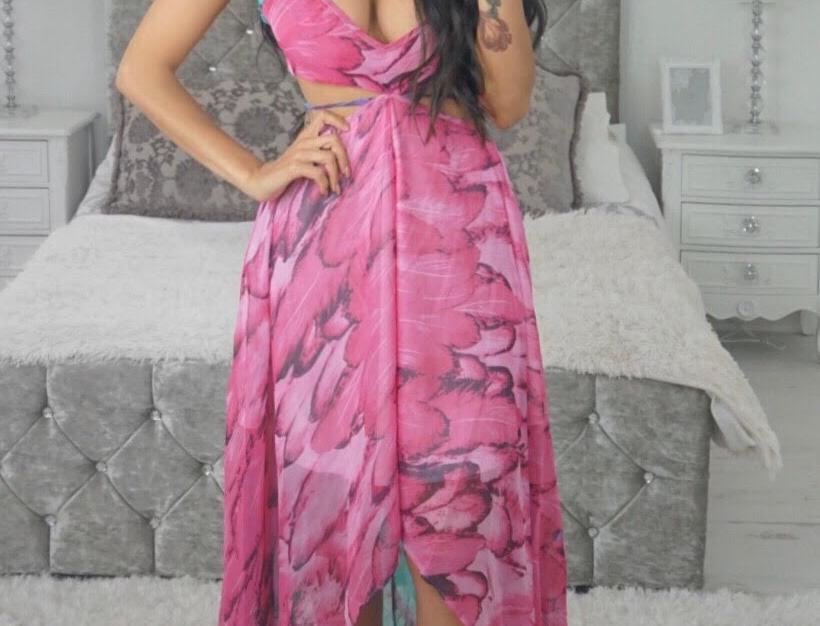 Charlene Feather Print Maxi Dress