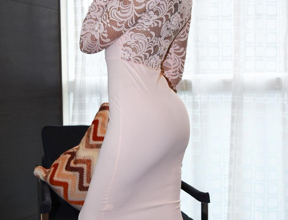 Zora Nude  Long Sleeve Lace Midi Dress
