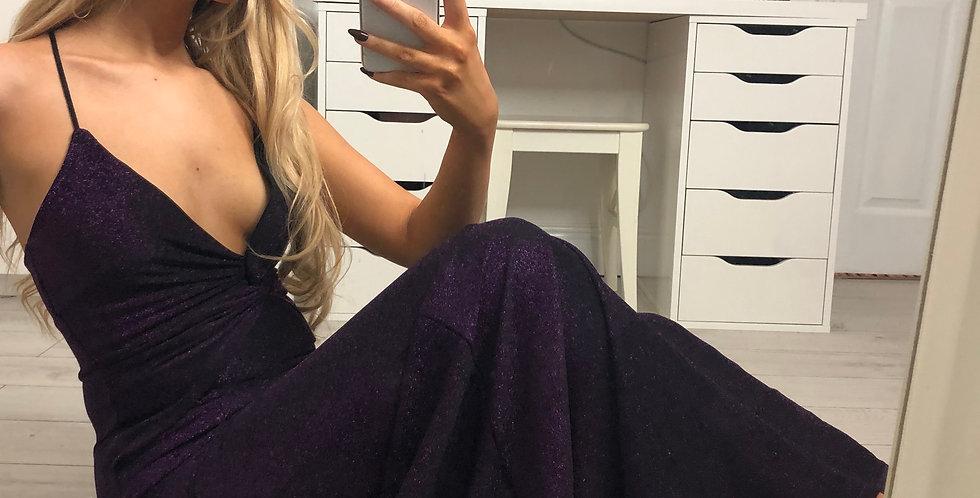 Sonia Purple Glitter Plunged Evening Maxi Dress