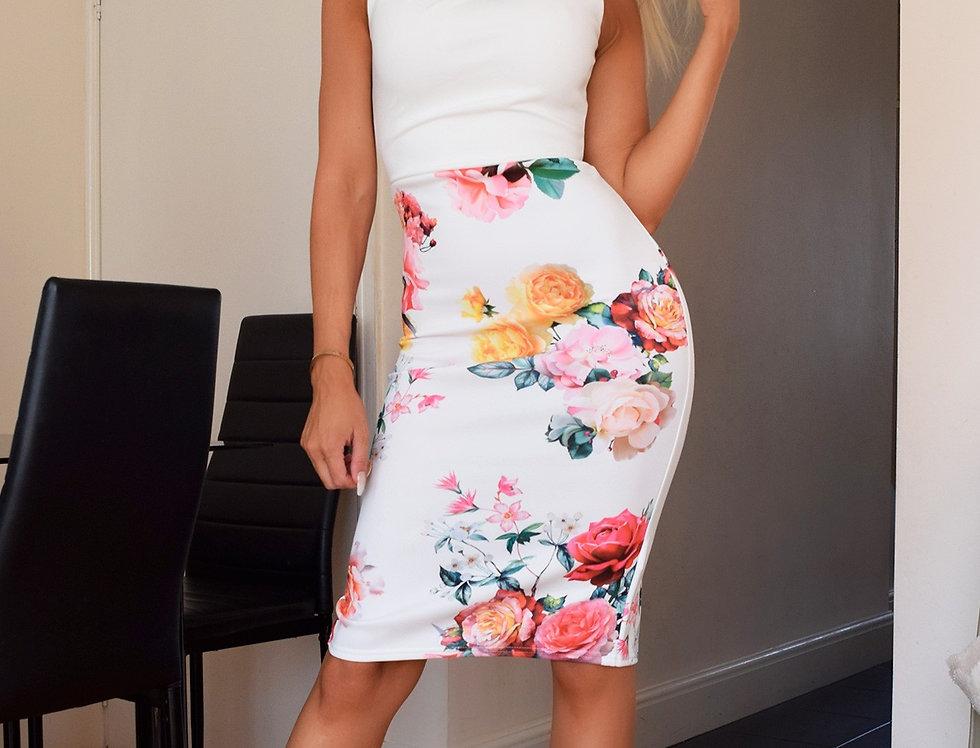 Kaz Floral Bodycon Midi Dress