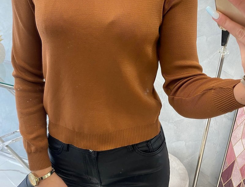 Dolly Pearl Embellished Ribbed Sweater Top