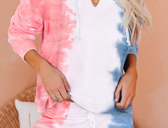 Harley Pink Tie Dye Hooded Top Shorts Lounge Set