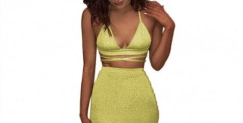 SALE Sapphire Yellow Shimmer Crop Top Skirt Set