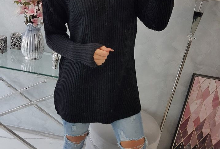 Betty Ribbed Polo Neck Knitted Jumper Dress Top