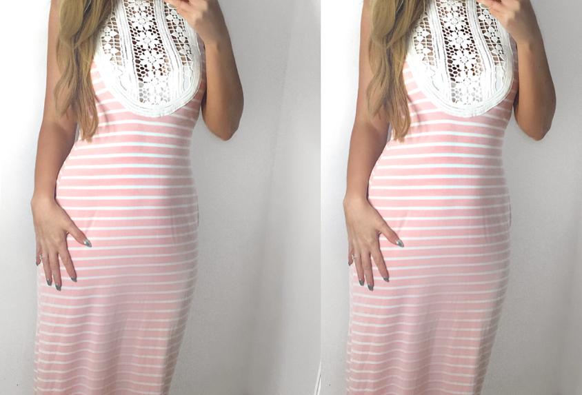 Norma Pink Striped Crochet Maxi Jersey Dress