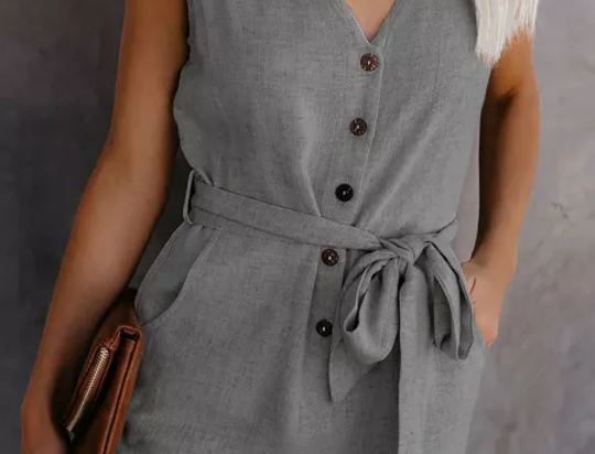 Nessie Button Up Belted Playsuit