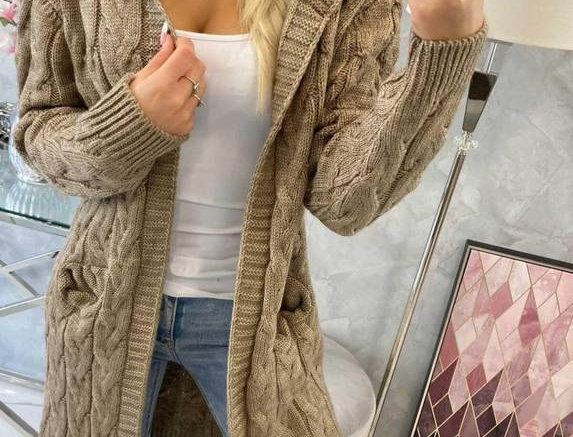 Alice Hooded Thick Knitted Pocketed Cardigan ONLY £25.59 WITH CODE LOCKDOWN21