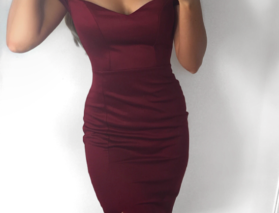 Diana Bardot Slit Leg Choker Midi Dress