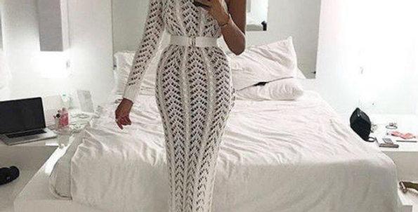 One Shoulder Crochet Maxi Dress