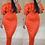 Thumbnail: Tiffany Orange Double Frill Off The Shoulder Midi Dress