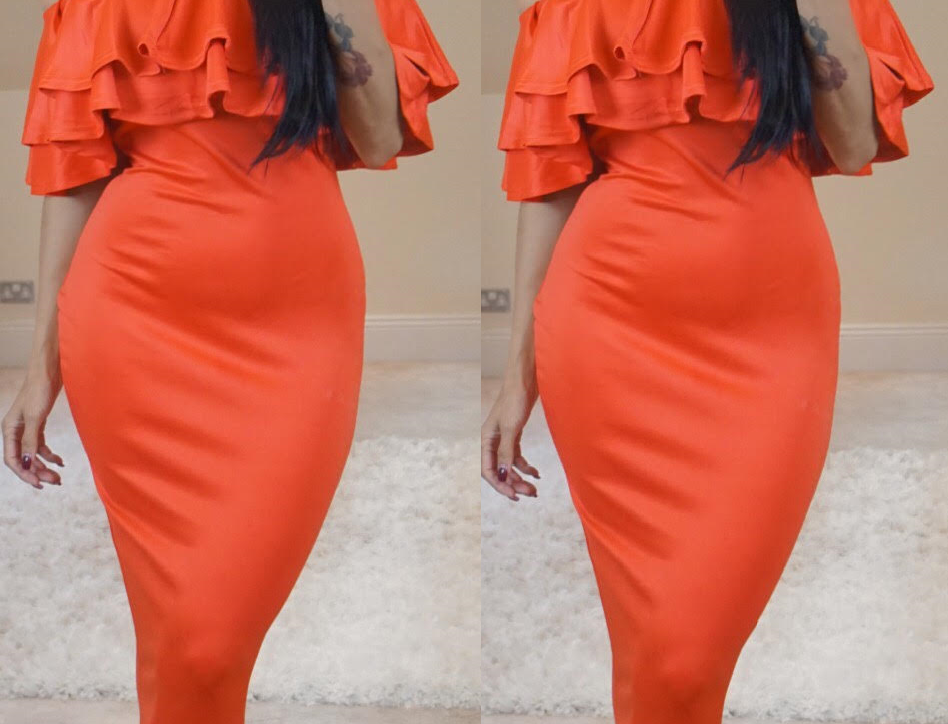 Tiffany Orange Double Frill Off The Shoulder Midi Dress