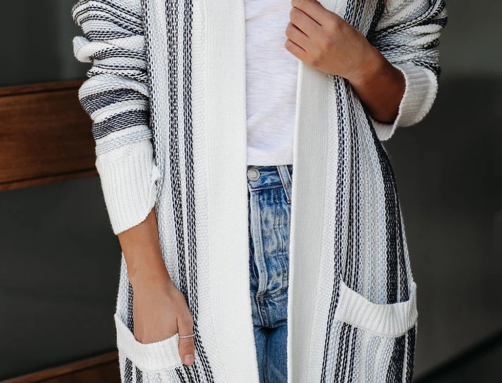 Noreen Striped Pocketed Long Line Cardigan