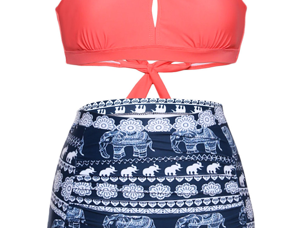 Alisha Coral African Print High Waisted Bikini Set