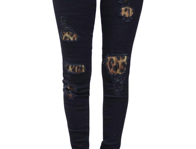 Leopard Patch Detail Black Distressed Jeans