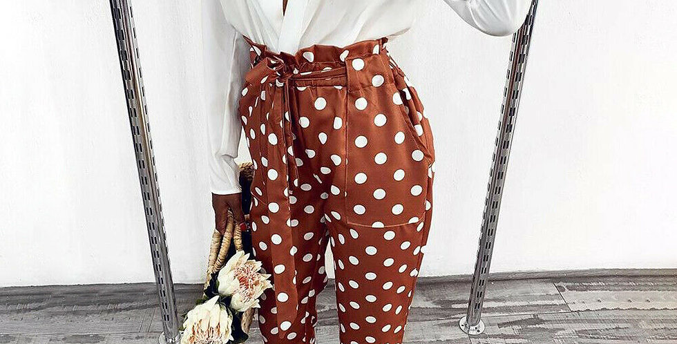 Jody Brown Polka Dot Paper Bag Trousers