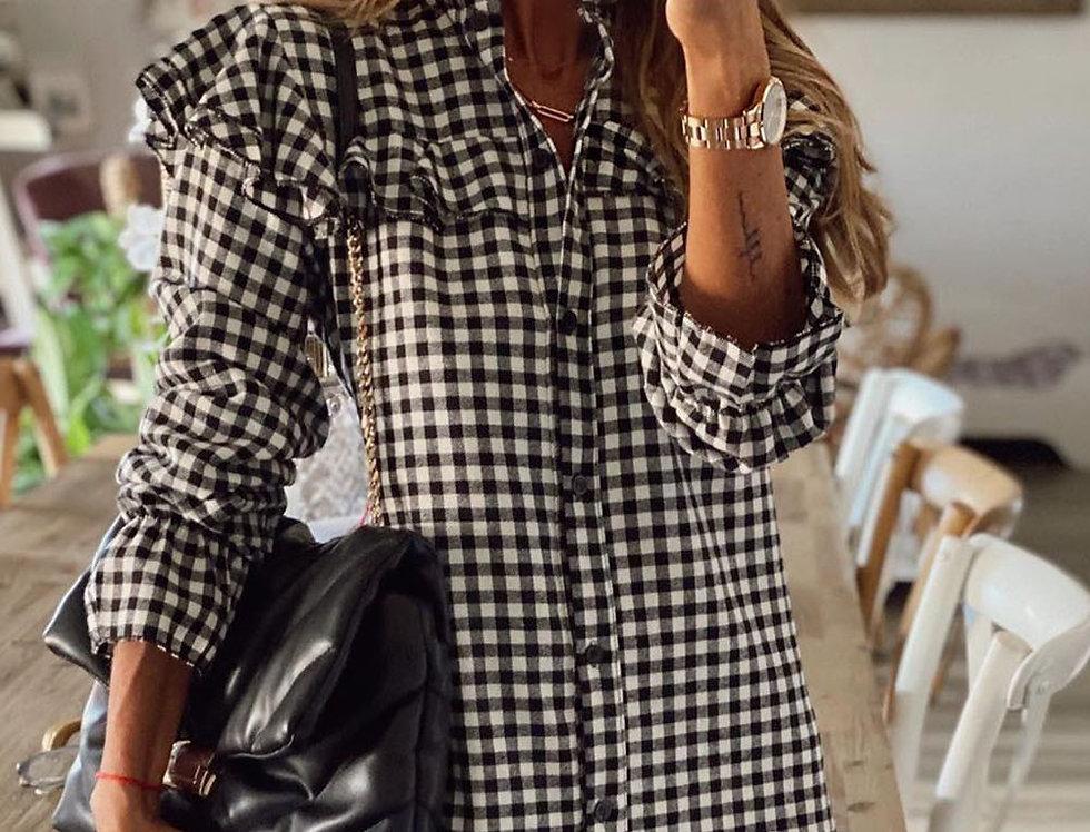 Nigella Checked Frill Shirt Dress