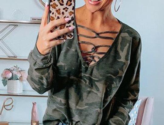 Toni Caged Camo Long Sleeve Sweatshirt