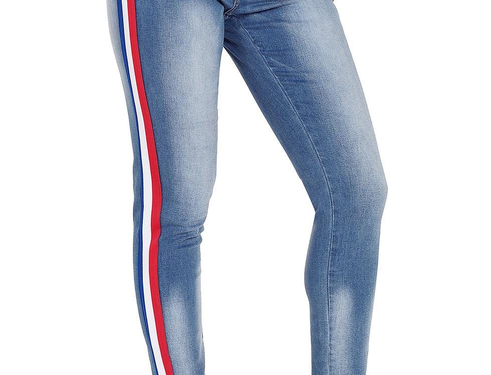 Leanne Stripe Denim Racer Jeans