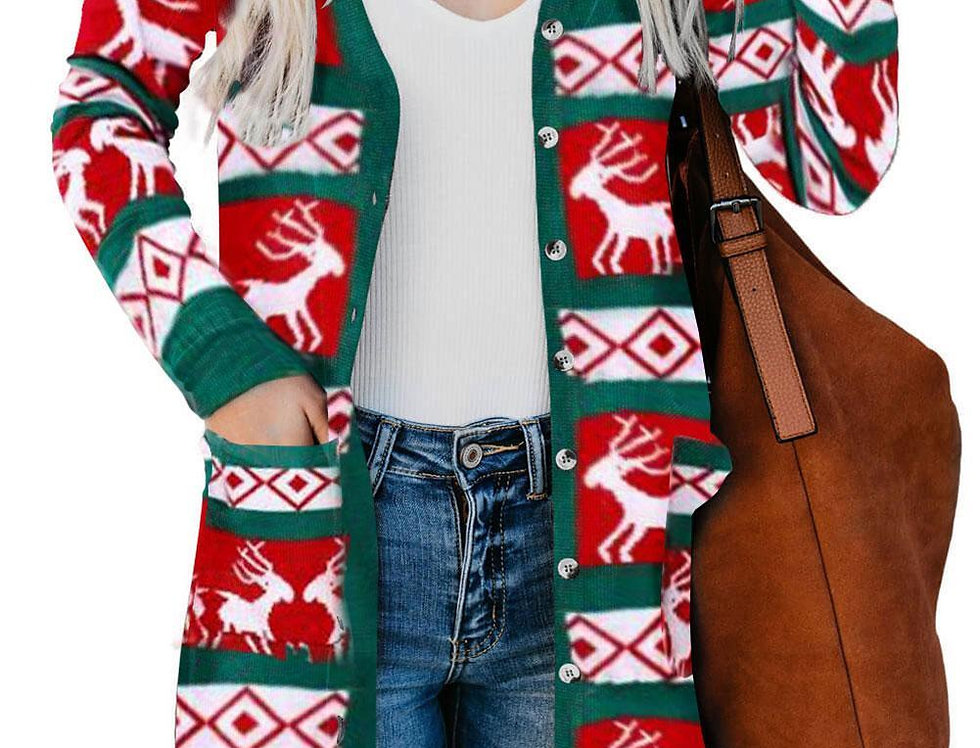 Reindeer Long Line Button Up  Christmas  Cardigan