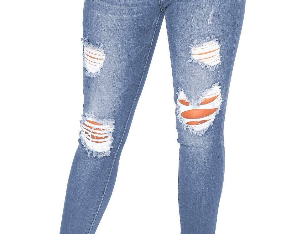 Faded Denim Wash Distressed Light Blue Jeans