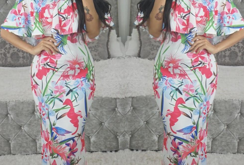Carmen Pink Floral Print Bardot Maxi Dress
