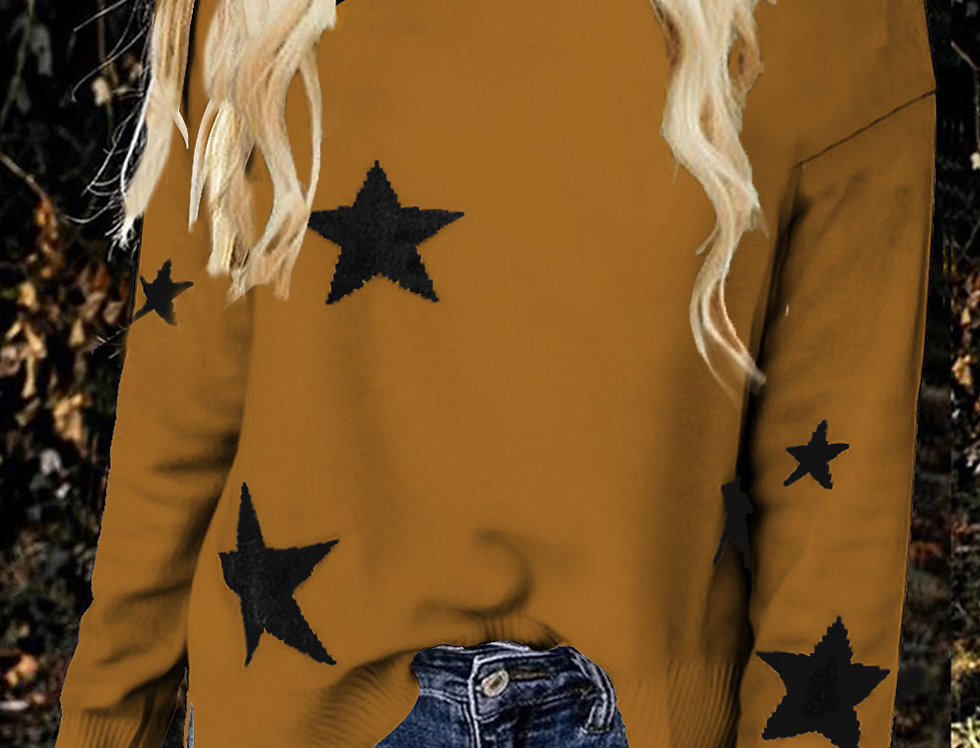 Star Printed Knitted Polo Jumper
