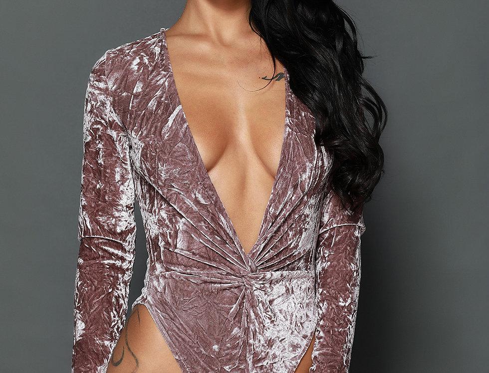 Hazel Crushed Velvet Plunged Bodysuit