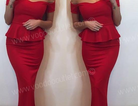 SALE Scarlet Sweetheart Peplum Evening Maxi Dress
