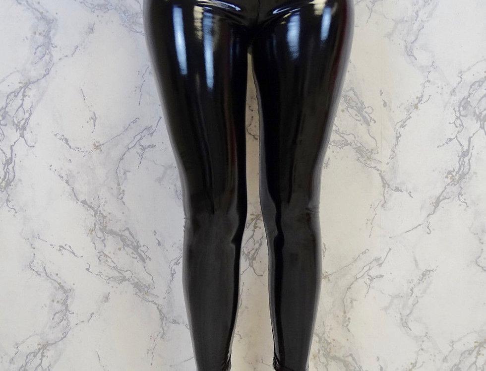 Black Leather Wet Look Leggings
