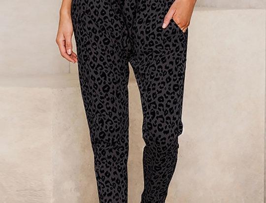 Tate Grey Leopard Print High Waisted Joggers