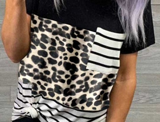 Alice  Leopard  Print Patch Work Casual T-shirt