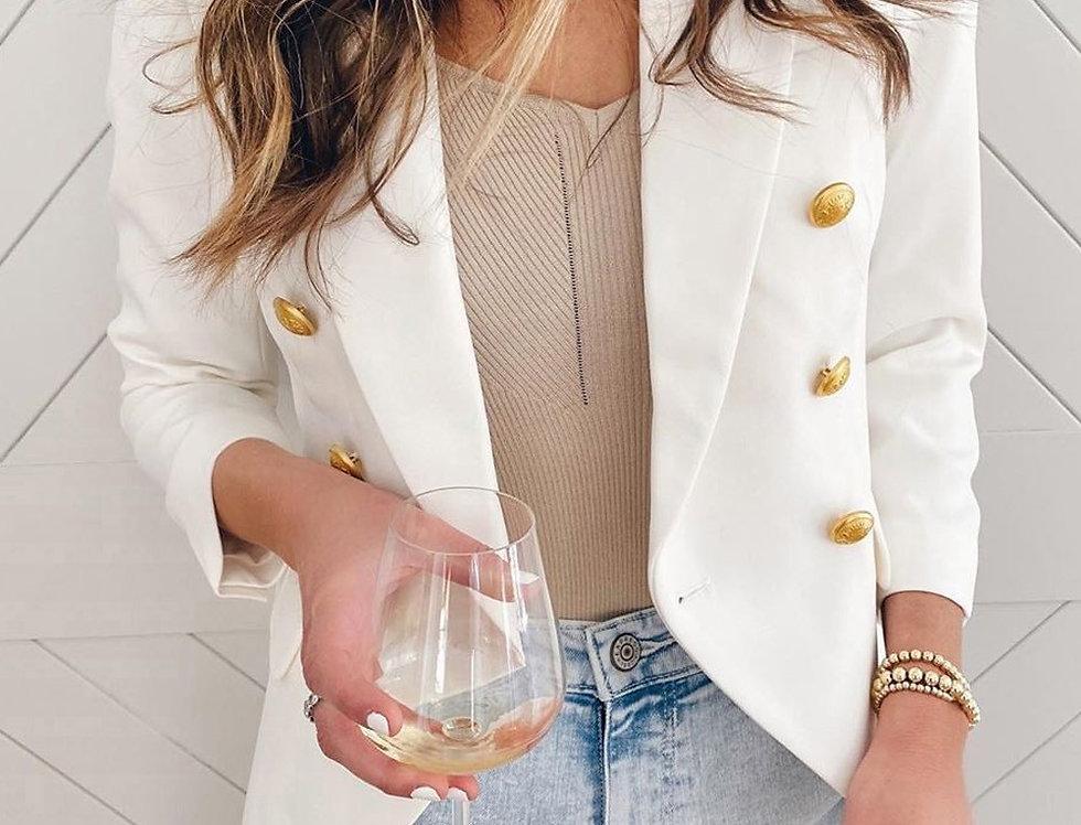 Nina Gold Button Tailored Blazer