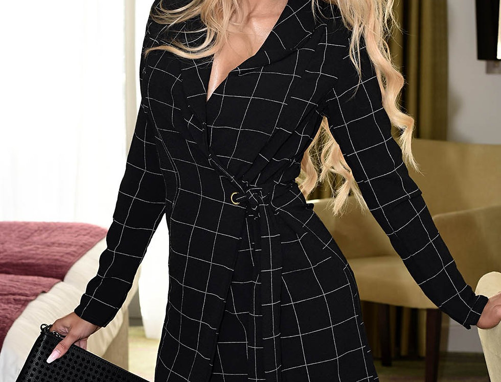 Megan Checked Blazer Wrap Dress