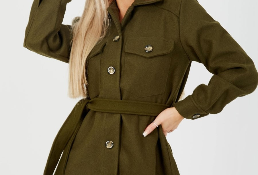 Taryn Military Thick Belted Shacket Jacket