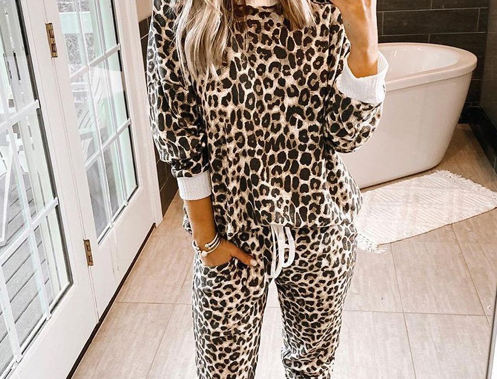 Lizzie Leopard Print  Pjs  Set