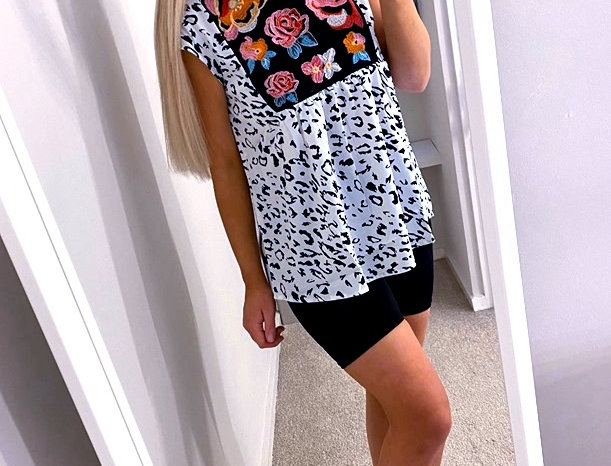 Alley Leopard Print Floral Loose Fit Smock Top