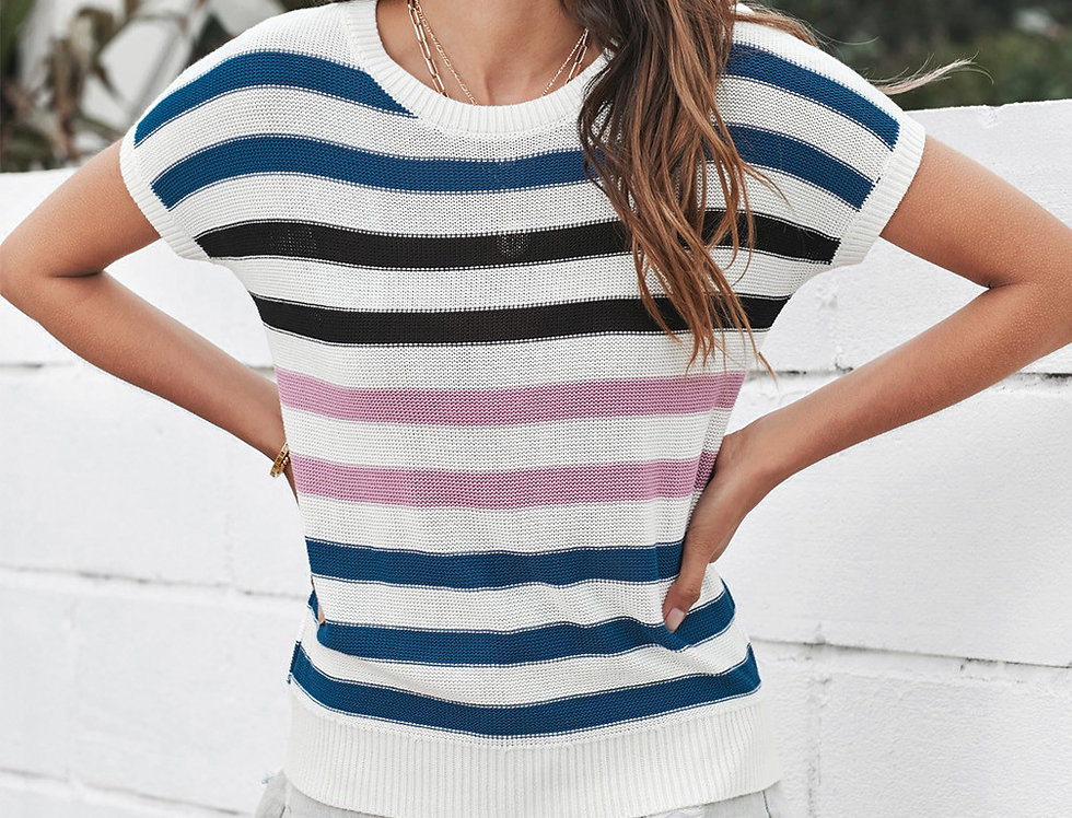 Kate Striped Oversized  Knitted Tank Top